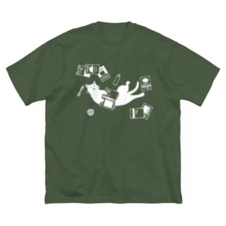 読書ねこ(白) Big silhouette T-shirts