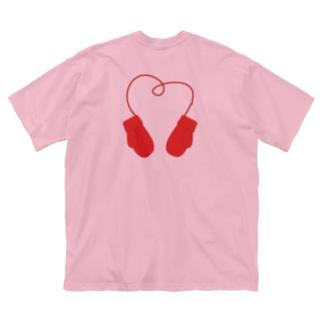【季節もの】手袋ハート Big silhouette T-shirts