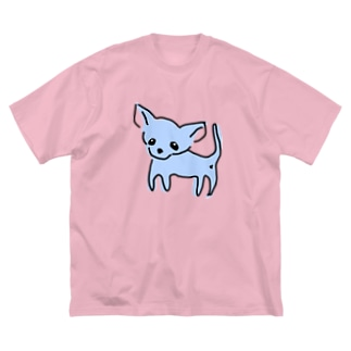 ゆるチワワ(ブルー) Big silhouette T-shirts
