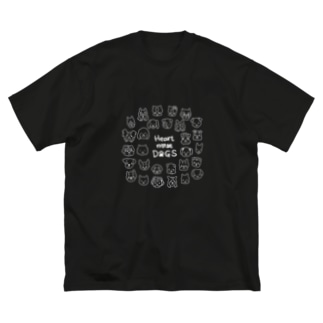 Heart nose DOGS(丸型白インク) Big silhouette T-shirts