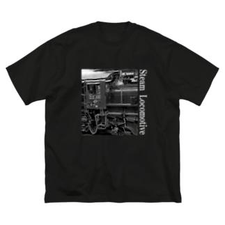 ノスタルジック ランドスケープのD51498 運転席周辺 白いレタリング (モノクロフォト) Big T-shirts