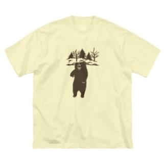ヒグマ (茶色) Big silhouette T-shirts