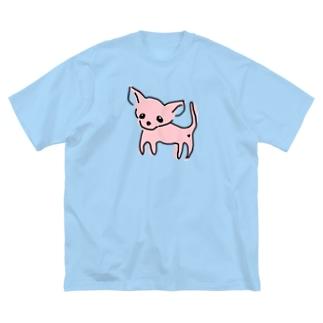 akane_artのゆるチワワ(ピンク) Big silhouette T-shirts