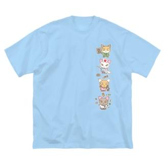 忙しいねこたち メディカル Big silhouette T-shirts