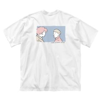 Fucking love バックプリント Big silhouette T-shirts