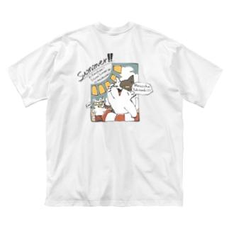 サマーな猫ちゃんのバックプリントTシャツ Big silhouette T-shirts