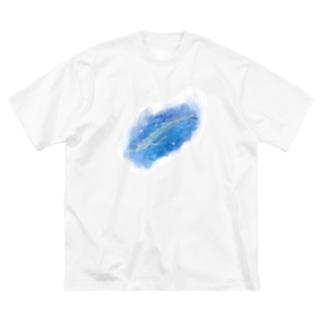 いきものイラスト(シロナガスクジラ) Big T-shirts