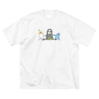 アマビエさんと祈りの組み体操 Big silhouette T-shirts