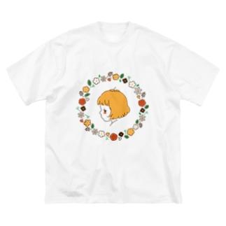 お花のリース Big silhouette T-shirts