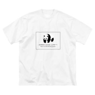 のしのしパンダ スクエア Big silhouette T-shirts