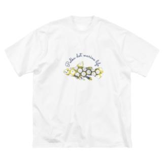 水玉海洋生物 シーラカンス Big silhouette T-shirts