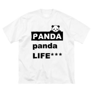 のぞきこみパンダ Big silhouette T-shirts