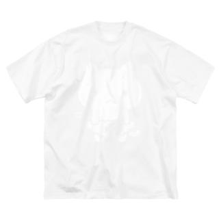 ぱんつが大きくて常に支えているねこ(しろ) Big silhouette T-shirts