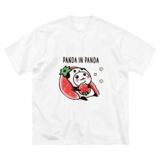 パンダinぱんだ(いちご) Big silhouette T-shirts