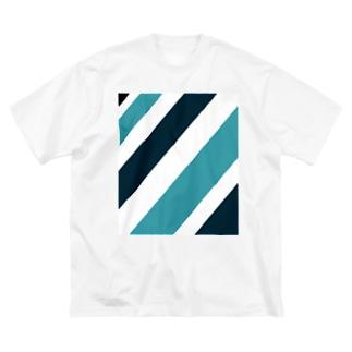 青 Big silhouette T-shirts