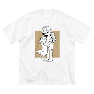 のびるねこ Big silhouette T-shirts