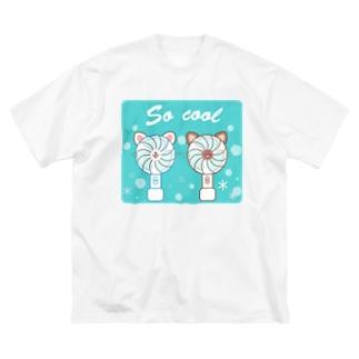 大人のためのねこ型ポータブル扇風機 Big silhouette T-shirts