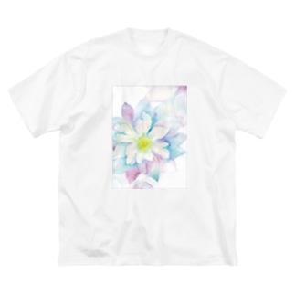 にじみ水彩クレマチス Big silhouette T-shirts