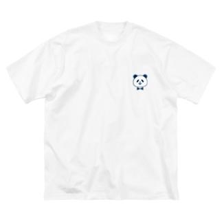 蝶ネクタイ パンダ《ネイビー》 Big silhouette T-shirts