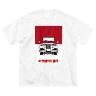 三菱ジープⒶ/赤 Big silhouette T-shirts