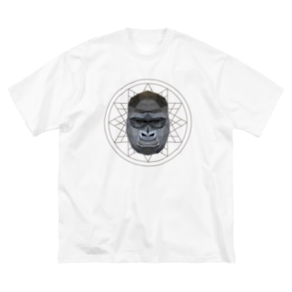 Polygonal Animal Face【06 Gorilla】 Big silhouette T-shirts