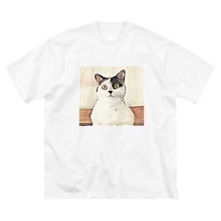 鼻ブチ猫ちゃんスケッチ風 Big silhouette T-shirts