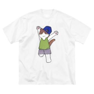 フィットネスにゃんこ 踊る Big silhouette T-shirts
