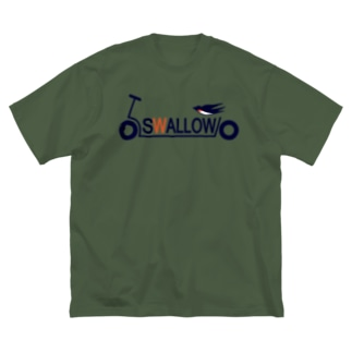 キックボード風スワローロゴ Big silhouette T-shirts