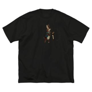 蝋燭に火を灯す岬のうさぎ Big silhouette T-shirts
