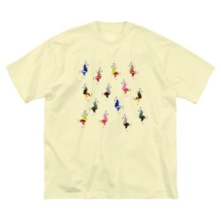 うさダンス総柄 Big silhouette T-shirts