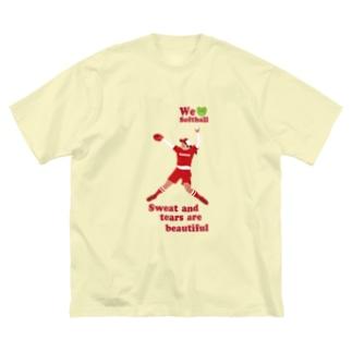 we love Softballスマホサイズ Big silhouette T-shirts