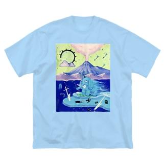 目眩を起こすマンモス♪ Big silhouette T-shirts