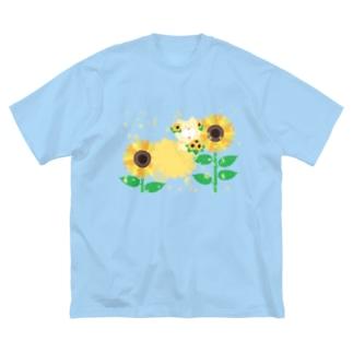 夏だよ!ひまわりの妖精 Big silhouette T-shirts