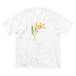 トロピカルフラワー Big silhouette T-shirts