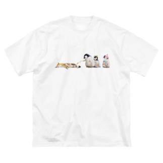 遊ぼう Big silhouette T-shirts