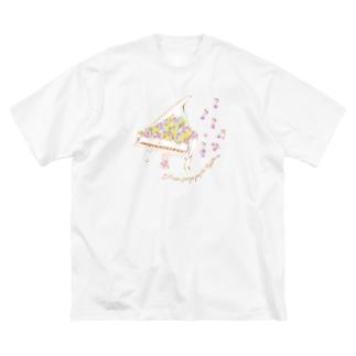 mayapatternの花の音符♪ver Big silhouette T-shirts