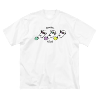 風船ガムをふくらますアレクシス Big silhouette T-shirts