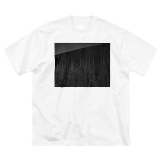 ボタ山と枯れ薄 Big silhouette T-shirts