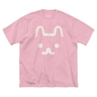ねこうさぎクソでかTシャツ Big silhouette T-shirts