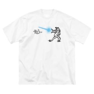 鳥獣人物戯画 カメハメ波 Big silhouette T-shirts