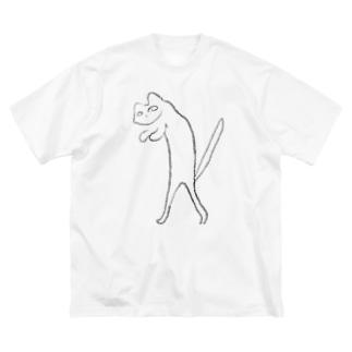 二足歩行の猫 Big silhouette T-shirts
