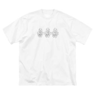 さと商店の遮光器ぱぐうトリオ Big silhouette T-shirts