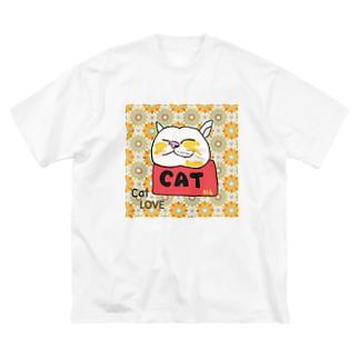 ねこのリラックス レトロ Big silhouette T-shirts