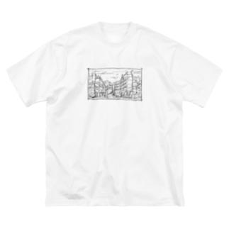ざらざら街 Big silhouette T-shirts