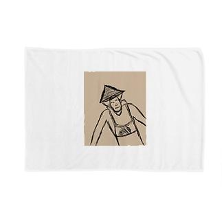 JUNSEN(純仙)背負い籠を担ぐ農夫 Blankets