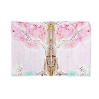 桜の木の下に猫何匹? Blankets