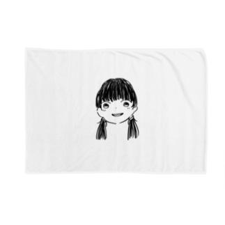 黒髪Girl Blankets