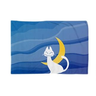 月夜の白猫(全面) ブランケット