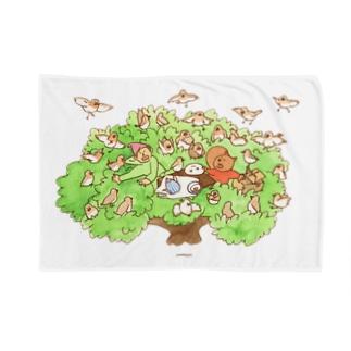木の上のティータイム ブランケット