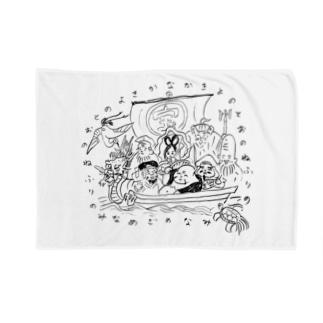 なかきよの 七福神 宝船 Blankets